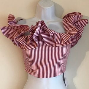 🍓 Ruffled Crop Top by Where are You From XS 🍓